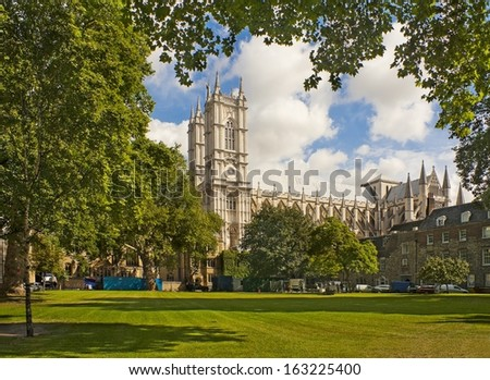 LONDON, ENGLAND - AUGUST 23: View of Westminster Abby from the inner courtyard in August 23, 2012 - stock photo