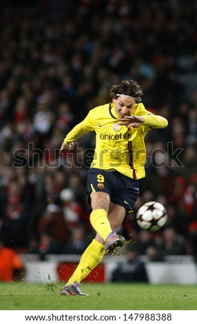 LONDON, ENGLAND. 31/03/2010. Barcelona player Zlatan Ibrahimovic in action during the  UEFA Champions League quarter-final between Arsenal and Barcelona at the Emirates Stadium - stock photo