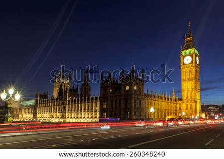 London, England.  Big Ben and Houses of Parliament. - stock photo