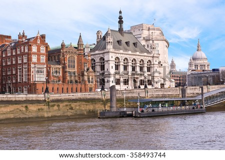 "London England Buildings and St. Paul""s Cathedral from the Thames River"
