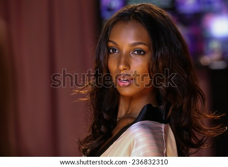 LONDON, ENGLAND - DECEMBER 02: Jasmine Tookes poses backstage at the annual Victoria's Secret fashion show at Earls Court on December 2, 2014 in London, England. - stock photo