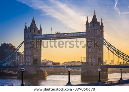 London, England - Famous Tower Bridge at sunrise with beautiful sky