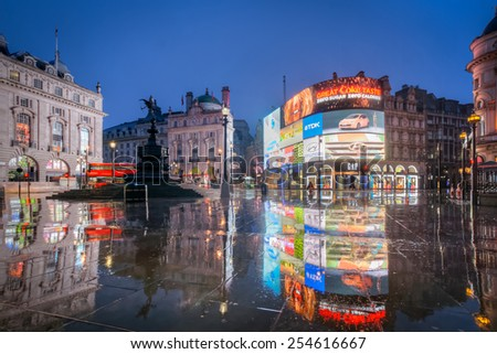 LONDON, ENGLAND FEB 21: Famous Piccadilly Circus neon signage that is a major attraction of London on Feb 21, 2015 in London, United Kingdom