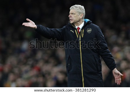 LONDON, ENGLAND - FEBRUARY 23:Arsene Wenger manager of Arsenal  during the Champions League match between Arsenal and Barcelona at The Emirates Stadium  - stock photo