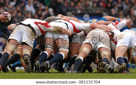 LONDON, ENGLAND-FEBRUARY 10, 2007: england rugby team players in action during the Six Nations rugby match England vs Italy, at the Twickenham stadium, in London. - stock photo