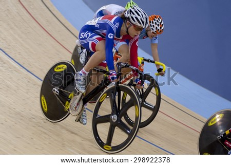 LONDON, ENGLAND. FEBRUARY 18 2012: Laura Trott (GBR) in action at the UCI Track Cycling World Cup at the London Olympic Velodrome, Queen Elizabeth 2nd Park - stock photo