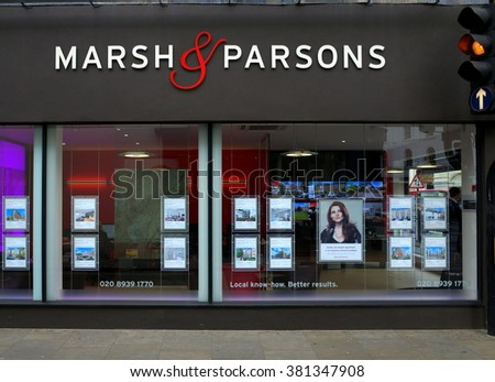 London, England - February 04, 2016: Marsh & Parsons Estate Agents in Richmond, London. The current average price for a three bedroom terraced house in Richmond is over one million pounds