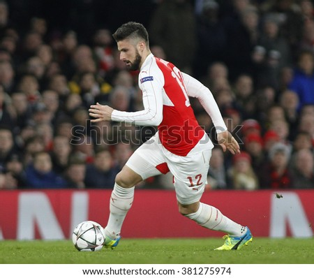 LONDON, ENGLAND - FEBRUARY 23: Olivier Giroud of Arsenal during the Champions League match between Arsenal and Barcelona at The Emirates Stadium  - stock photo
