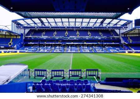 LONDON, ENGLAND - FEBRUARY 14: Stamford Bridge Stadium on February 14, 2014 in London, UK. The Stamford Bridge is home to Chelsea Football Club. - stock photo