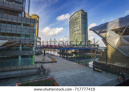 LONDON - ENGLAND, FEBRUARY 2017: The new Canary Wharf DLR station. Its a modern underground station on the Jubilee line, between Canada Water and North Greenwich. London city, United Kingdom.