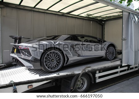 London, England   17.06.17: Grey Lamborghini Aventador Super Veloce Is  Being Unloaded