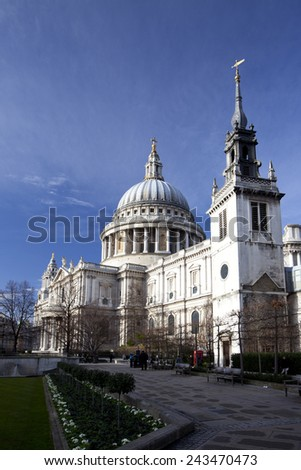 London, England, January 2015, A landscape view of pedestrians walking ourside St Paul's Cathedral during winter.