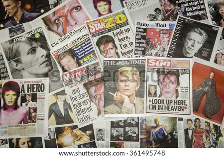 London, England - January 12, 2016: British Newspaper Front Pages Reporting the Death of David Bowie at his Home in New York.