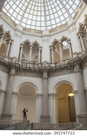London, England - January13 2016:  Interior view of the domed rotunda in the recently renovated central areas of the Tate Britain museum.
