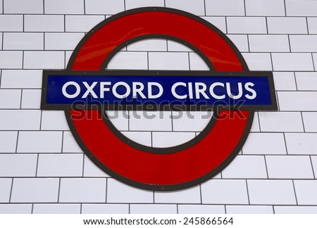 LONDON, ENGLAND - JANUARY 18: Underground Oxford Circus tube station in London on January 18, 2015. The London Underground is the oldest underground railway in the world covering 402 km of tracks. - stock photo