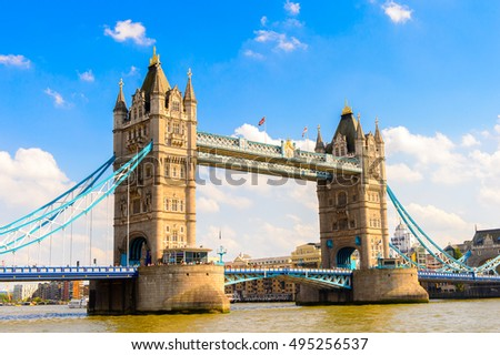 LONDON, ENGLAND - JUL 20, 2016: Tower Bridge near the Her Majesty's Royal Palace and Fortress of the Tower of London, England. UNESCO World Heritage