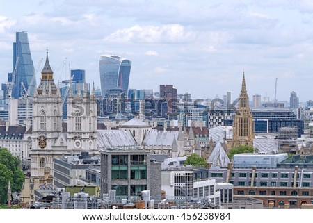 LONDON, ENGLAND - JULY 8, 2016: Aerial View from Westminster Cathedral of Roofs and Houses of London, United Kingdom. - stock photo