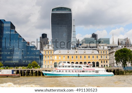 LONDON, ENGLAND - JULY 22, 2016: Architecture on the bank of the river Thames in London, the capital of Great Britain