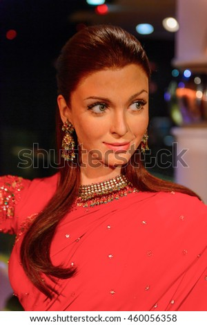 LONDON, ENGLAND - JULY 22, 2016: Ayshwaria at the Madame Tussauds wax museum. It is a major tourist attraction in London
