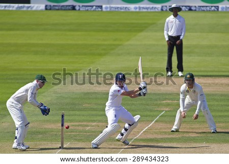 LONDON, ENGLAND - July 18 2013: Brad Haddin, Kumar Dharmasena, Jonny Bairstow and Phillip Hughes on day one of the Investec Ashes 2nd test match, at Lords Cricket Ground on July 18, 2013