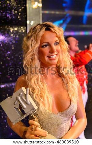 LONDON, ENGLAND - JULY 22, 2016: Britney Spears, Madame Tussauds wax museum. It is a major tourist attraction in London