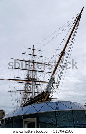 LONDON, ENGLAND - JULY 7, 2016: Cutty Sark, the world's sole surviving tea clipper, and fastest ship of her time, now an award-winning visitor attraction in Greenwich.