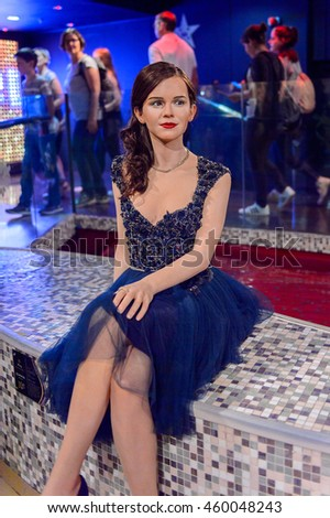 LONDON, ENGLAND - JULY 22, 2016: Emma Watson, famous by Harry Potter film series, Madame Tussauds wax museum. It is a major tourist attraction in London