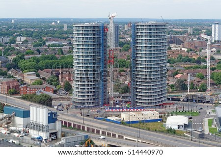 LONDON, ENGLAND - JULY 7, 2016: Hoola London E16, the new HUB development in London's Royal Docks. It offers twenty-three different types of apartments.