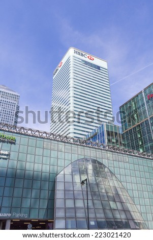 LONDON, ENGLAND - JULY 15: HSBC Headquarters, Canada Square on July 15, 2014 in London, England - stock photo