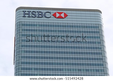 LONDON, ENGLAND - JULY 7, 2016: HSBC UK Head Quarter. HSBC's World Head Quarters based in Canary Wharf is the world's third-largest bank and sixth-largest public company.