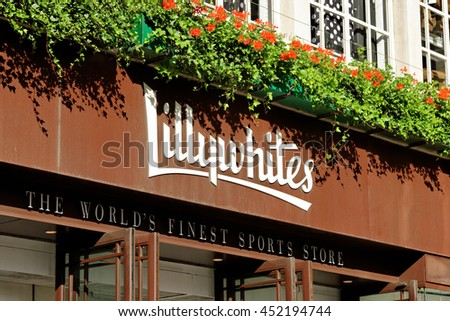 LONDON, ENGLAND - JULY 8, 2016: Lillywhites on Piccadilly circus. It is a 5-storey emporium founded in 1863 by leading cricket family, with 34 specialist sports departments. - stock photo