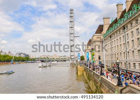 LONDON, ENGLAND - JULY 22, 2016: London Eye in London, the capital of Great Britain