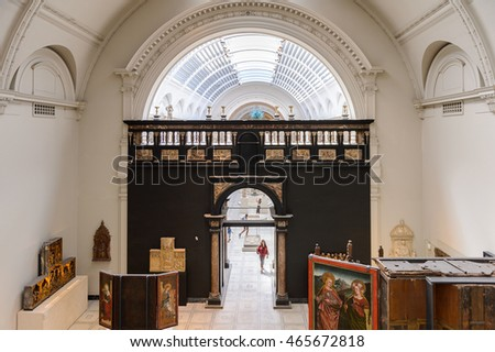 LONDON, ENGLAND - JULY 23, 2016: Medieval and Renaissance Galleries, Victoria and Albert Museum, London. It was founded in 1852