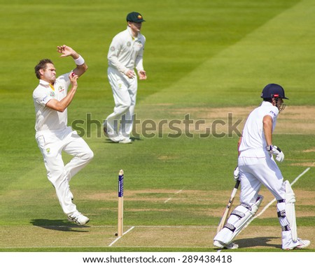 LONDON, ENGLAND - July 18 2013: Ryan Harris, Chris Rogers and Alastair Cook on day one of the Investec Ashes 2nd test match, at Lords Cricket Ground on July 18, 2013 in London, England.