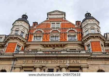 LONDON, ENGLAND - JULY 1, 2014: St Mary's Hospital, Paddington, where Catherine, Duchess of Cambridge gave birth on July 19 2013 of the future monarch. - stock photo