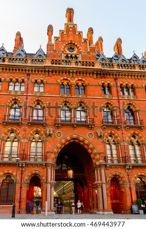 LONDON, ENGLAND - JULY 22, 2016: St Pancras railway station, a central London railway terminus. Famous by the Eurostar services to continental Europe