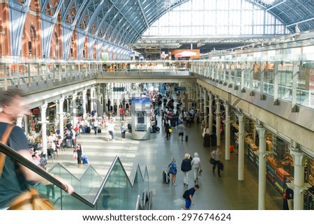 LONDON,ENGLAND - JULY 05, 2015: St Pancras Station international train station in London, this station is the main for Eurostar train to the European countries. - stock photo