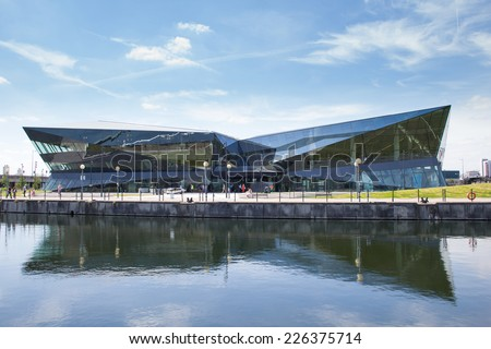 LONDON, ENGLAND - JULY 15: The Crystal, Home to the world's largest exhibition focused on urban sustainability on July 15, 2014 in London, England - stock photo