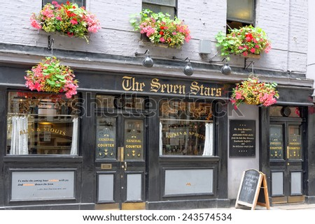 LONDON, ENGLAND - JULY 1, 2014 The Seven Stars Pub on 53-54 Carey Street, Holborn, London after the recent exterior renovation work.  - stock photo