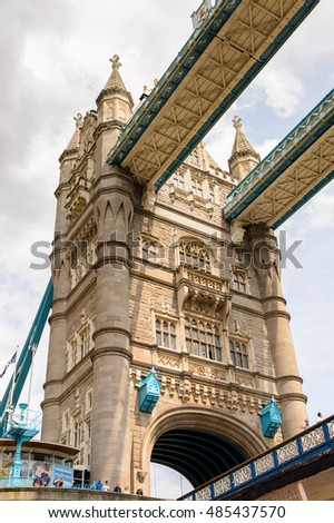 LONDON, ENGLAND - JULY 22, 2016: Tower Bridge of the Thames river, one of the most important landmarks of London