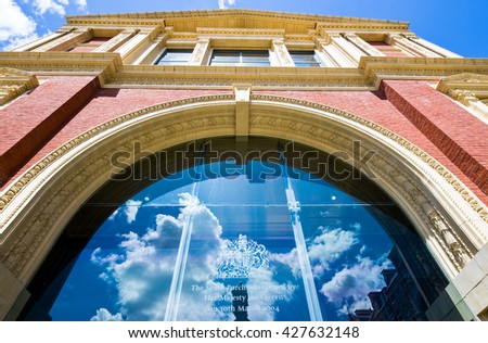 London, England - July 3, 2008: Upward view of the south porch of the Royal Albert Hall
