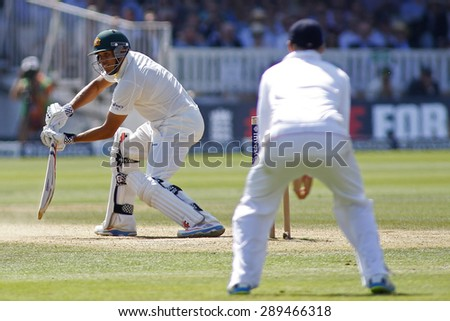 LONDON, ENGLAND - July 21 2013: Usman Khawaja batting during day four of the Investec Ashes 2nd test match, at Lords Cricket Ground on July 21, 2013 in London, England.