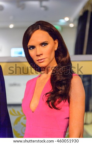LONDON, ENGLAND - JULY 22, 2016: Victoria Beckham, Madame Tussauds wax museum. It is a major tourist attraction in London