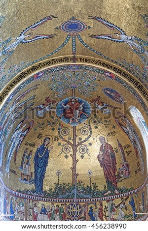 LONDON, ENGLAND - JULY 8, 2016: Westminster Cathedral interior decorated with very fine mosaics. - stock photo