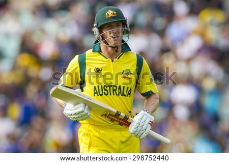 LONDON, ENGLAND - June 17 2013: Australia's George Bailey walks off after being run out during the ICC Champions Trophy international cricket match between Sri Lanka and Australia.
