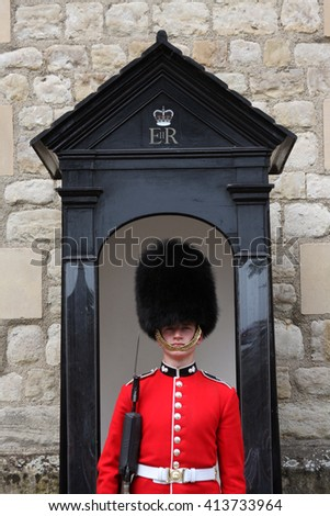 LONDON, ENGLAND - JUNE 12, 2015: Queen's Guard or Queen's Life Guard at the Tower of London in London, England. The Queen's Guard are responsible for guarding all royal palaces.