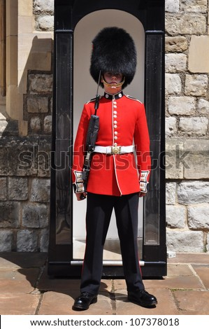 LONDON, ENGLAND - JUNE 17: Queen's Guard or Queen's Life Guard at the Tower of London on June 17, 2012 in London, England - stock photo