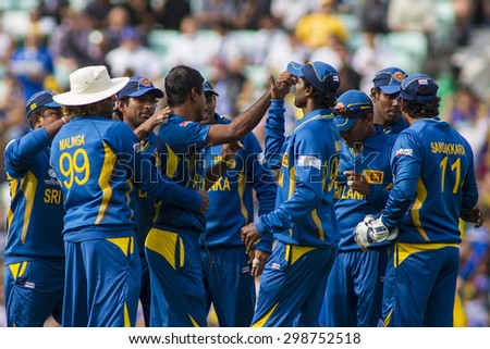 LONDON, ENGLAND - June 17 2013: Sri Lanka players celebrates the wicket of Shane Watson (not pictured) during the ICC Champions Trophy international cricket match between Sri Lanka and Australia.