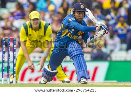 LONDON, ENGLAND - June 17 2013: Sri Lanka's Mahela Jayawardene batting during the ICC Champions Trophy international cricket match between Sri Lanka and Australia.