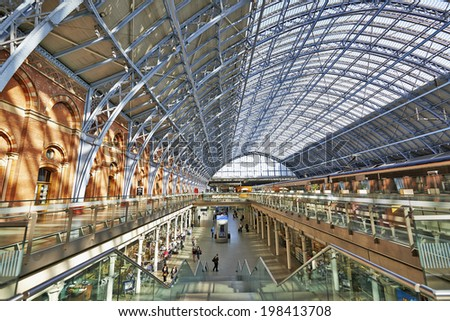 LONDON,ENGLAND JUNE 08: St Pancras Station on June 08, 2014 in London, England.St Pancras Station is the main rail terminal for Eurostar train departures from London to the European mainland. - stock photo